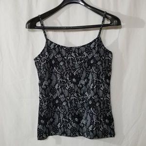 Ann Taylor Loft black white flower print camisole